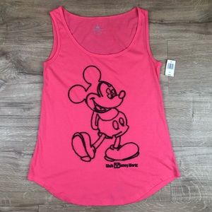 Disney Mickey Mouse Stitch Embroidered Tank Pink S